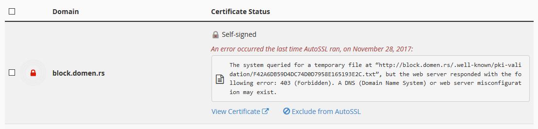 Neispravan sertifikat