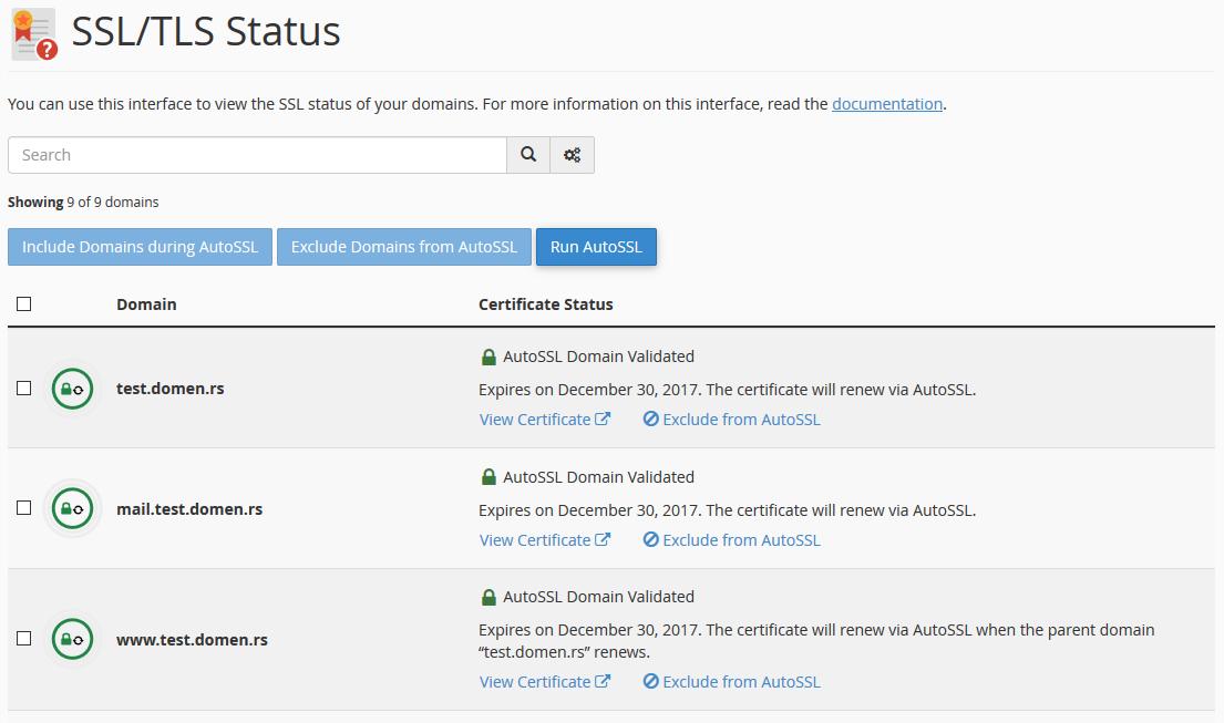 SSL/TLS lista domena