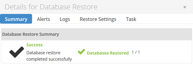 DB restore completed