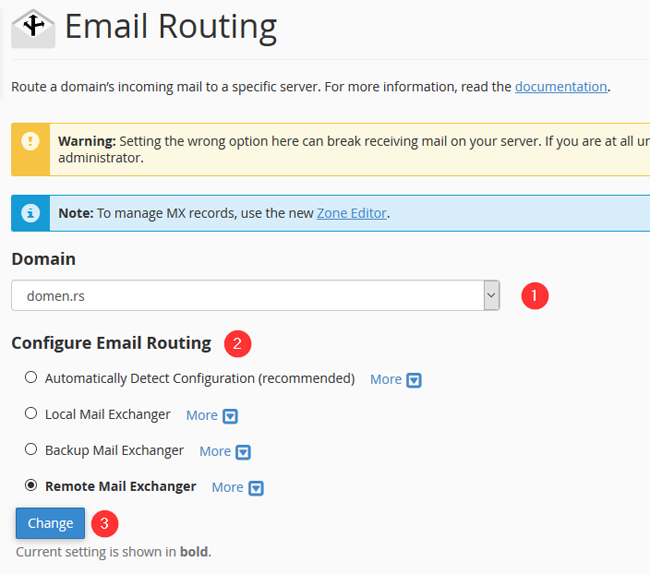 Email Routing config