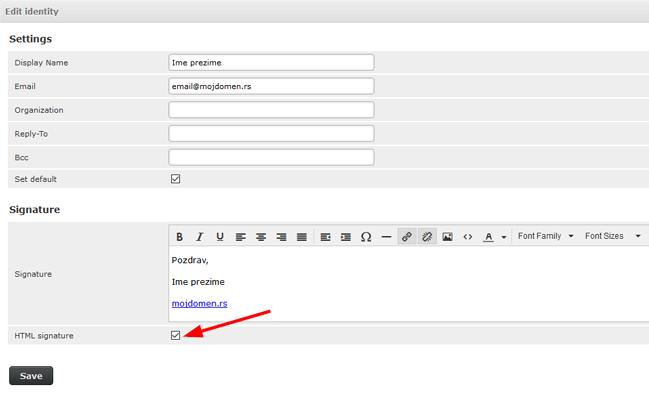 Email osnovna podesavanja