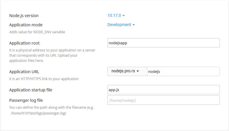 Nodejs create application form