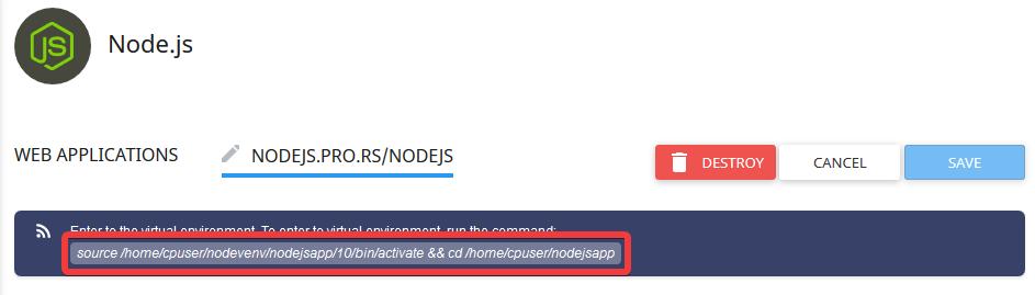 Nodejs SSH command