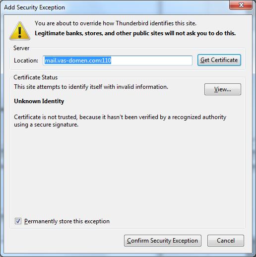 Prihvatanje sertifikata