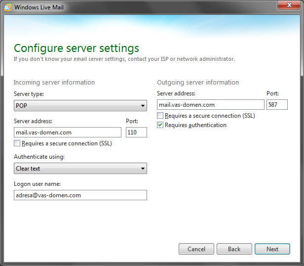 Konfiguracija mail servera
