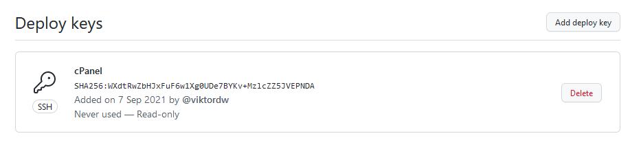 Github lista deploy kljuceva