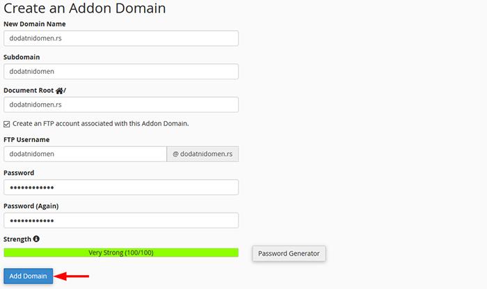 Create Addon Domain