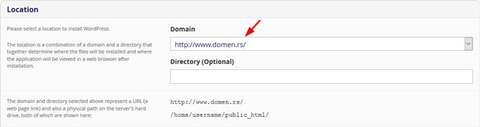 Installatron WordPress Location