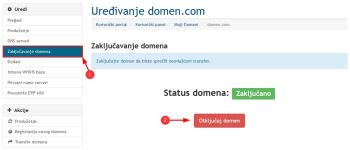 Otkljucavanje domena